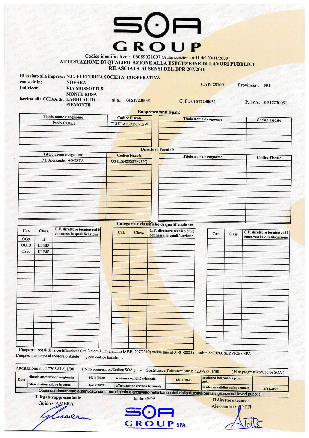 Certificazione Soa Rina